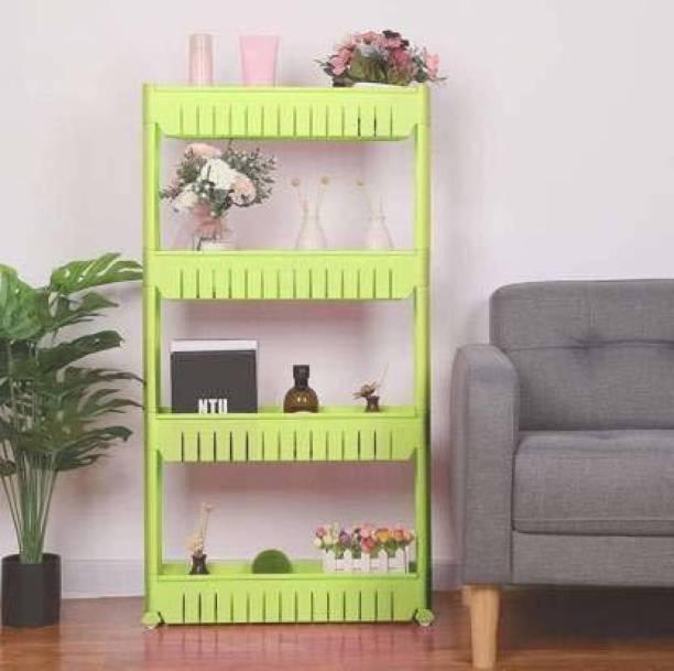 Shopixo 4 Layer Green Slim Side Space Saving Storage Organizer Rack Shelf with Wheels for Easy Movement | Unbreakable Plastic Kitchen Troll Plastic Kitchen Trolley Plastic Kitchen Trolley