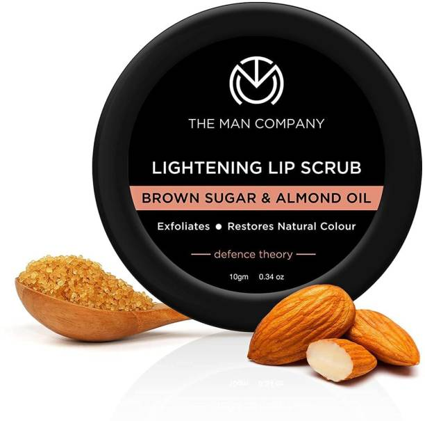 The Man Company Lightening Lip Scrub Balm with Brown Sugar & Almond Oil | For Dry / Chapped Lip | Nourishes | Moisturizes | Hydrates | Brightening | 10gm None