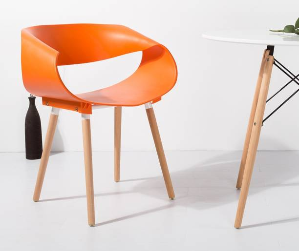 Flipkart Perfect Homes Fiber Minimalist Creative Solid Wood Plastic Backrest Living Room Dining Chair in Orange Color Plastic Living Room Chair