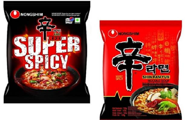 Nongshim Shin Ramyun & Red Super Spicy Korean Style Instant Noodles (2X120g) ( Combo Pack) (Pack Of 2) Instant Noodles Non-vegetarian