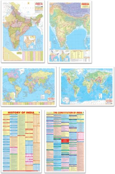 India & World Map ( Both Political & Physical ) with Constitution of India Chart & History of India Chart   NON LAMINATED   SET OF 6 maps and chart   Useful for UPSC, SSC, IES and other competitive exams Paper Print