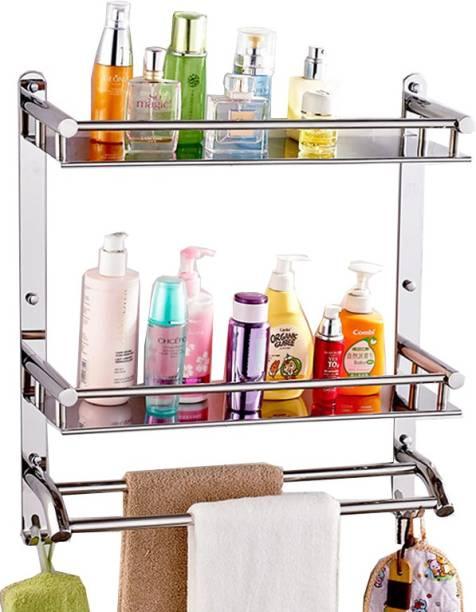 Gosai Bathroom Accessories shelf / bathroom rack / kitchen shelf / Towel rod stand / Bathroom shelf /Bathroom accessories wall shelf / all in one 2 layer stainless steel shelf silver Towel Holder