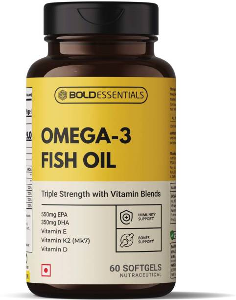 BOLDESSENTIALS Omega 3 Fish Oil Capsules for men and women (TRIPLE STRENGTH FISH OIL)