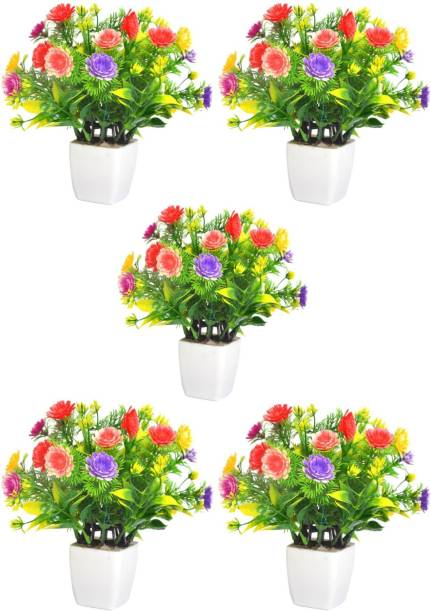 mogal Artificial Plant For Home/Office Table Decoration or Gift Table Flower Pot Bonsai Wild Artificial Plant with Pot(Multicolour, Pack of 5, 8inch) Bonsai Wild Artificial Plant  with Pot