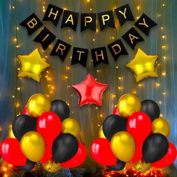 "Magic Balloons Solid Happy Birthday Balloon Set Of 35 Balloons 1 Happy Birthday Black Paper Banner 1 Light 2 Gold Star Foil Balloon 18"" 1 Red Star Foil Balloon 18"" 30 Red Gold Black Metallic balloon For Birthday Decoration Balloon"