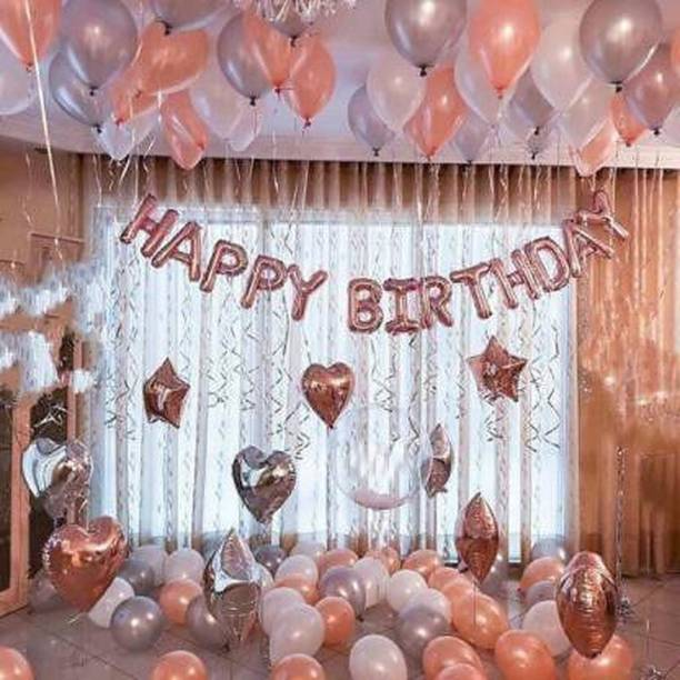 MITYA Solid Girl baby boy gifts Happy Birthday gift rose gold foil balloon 13 [ 2 star rose gold 2 hart rose gold ] [ 10 inch hart & star ] Metallic Balloons Decoration combo Kit 47 pcs set Letters Foil Balloon Banner (30 pcs Silver,Rose gold Pack of 47) Balloon