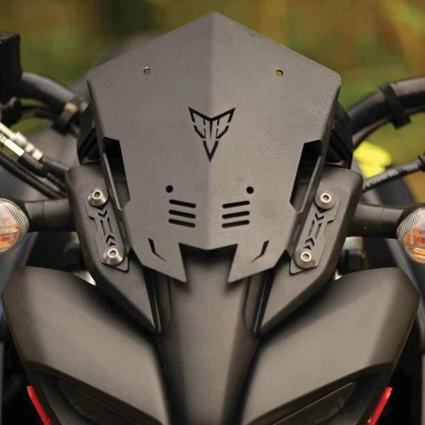 Miwings Metal Black Visor for Yamaha MT 15 Bike Headlight Visor