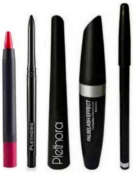 Plethora Genuine Quality Lipstick with Mascara,Eyeliner,Kajal Pencil, Eyebrow pencil, (5 Items in the set)