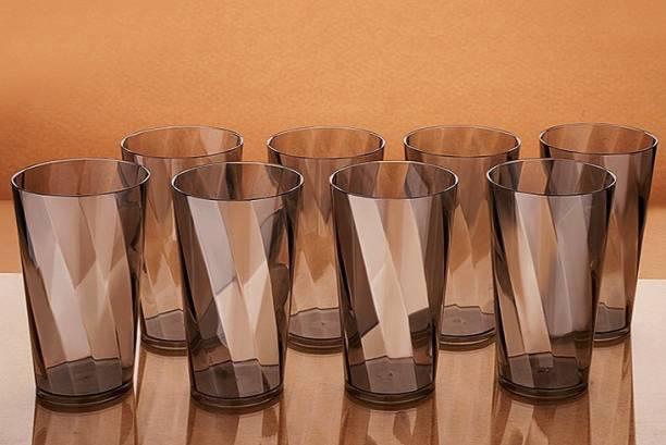 Nexium (Pack of 8) Twisted Shape Plastic Water Glasses GREY Glass Set