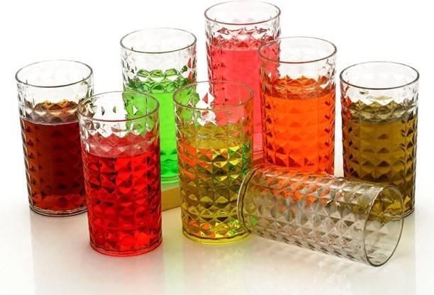 Sedulous (Pack of 8) CRYSTAL Pattern Water Juice Plastic Glass Set