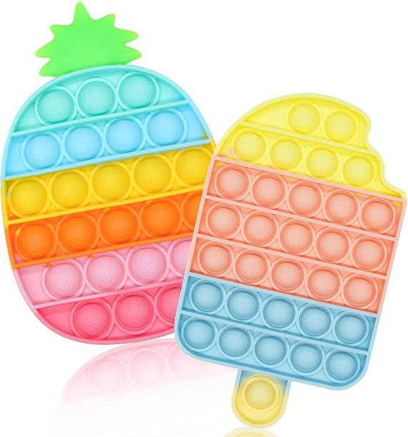 Zmeet Pop It Fidget Toys,Push Pop Bubble Fidget Sensory Toy,Autism Special Needs Silicone Stress Relief Toy,Great Fidget Toy Sensory Toys Novelty Gifts for Girls Boys Kids Adults (2Pack Rainbow- Pineapple + Ice Cream)
