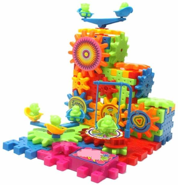 ARONET Miracle Magical Bricks Learning Toy 101 Piece Interlocking Learning Blocks, Rotating Building Blocks with Gears for STEM Learning, Educational Building Blocks Toys (Multi Color) Battery not included