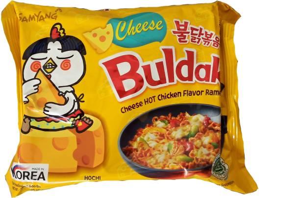 Samyang Hot Chicken Ramen Buldak Cheese Noodles, 140g Instant Noodles Vegetarian
