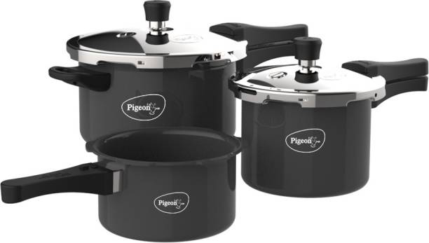 Pigeon by Stovekraft Limited Induction Bottom Hard Anodised Pressure Cooker Outer Lid 2 L, 3 L, 5 L Induction Bottom Pressure Cooker