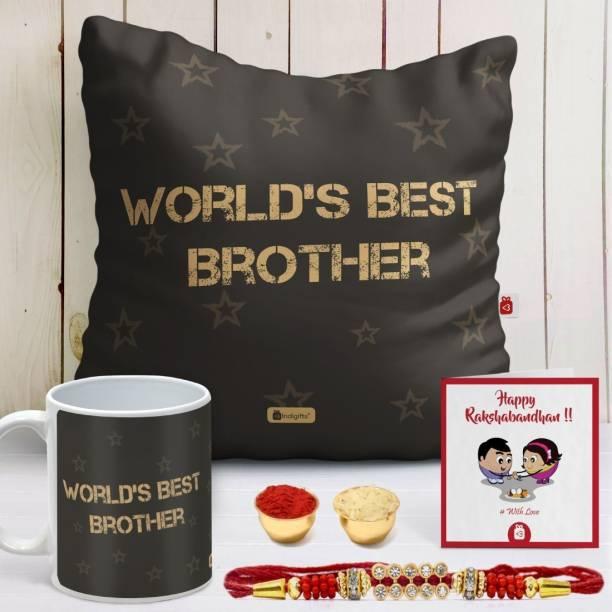 Indigifts Rakhi Gift Cushion, Rakhi, Greeting Card, Mug  Set