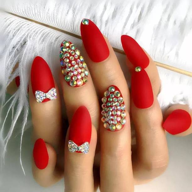 business venture 12 PC/Set Designer Reusable RED Matte with Stones Artificial Nail/Nails with glue.Rhinestones Nail extension tips RED, red matte designer