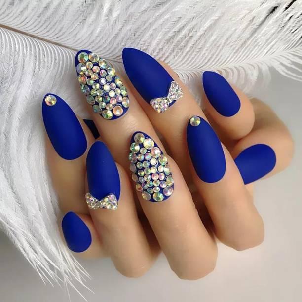 business venture 12 PC/Set Designer Reusable BLUE STONES Matte Artificial Nail/Nails with glue. Nail extension tips blue, BLUE DESIGNER STONES