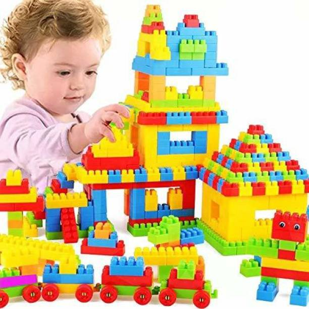 BOZICA BEST BUY 100pcs(92 PIECE+8 TYRES) DIY Children's Assembling Toys Plastic Thickened Large Particles Building Blocks Creative Educational Toys