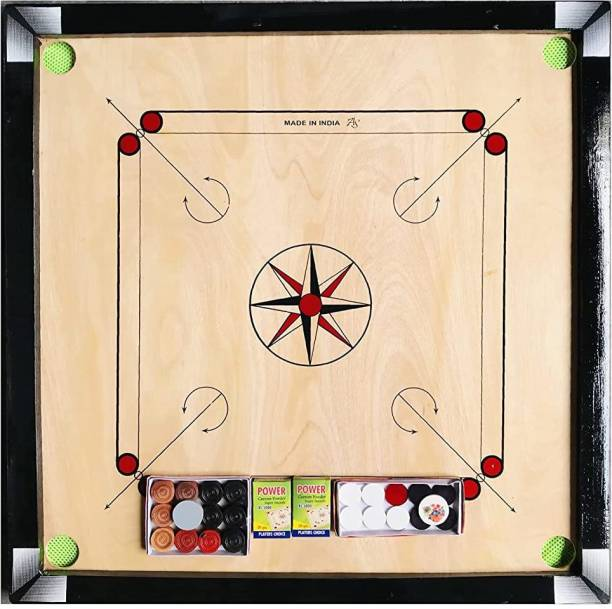 wWAR Full Size 32x32 Inches Premium Product with 2 Set Coins, Strikers and Powder 81 cm Carrom Board