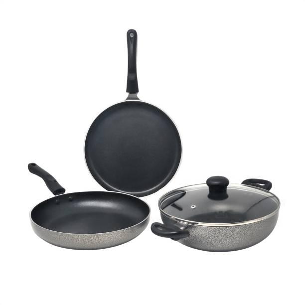 Kreme DELUXE 3mm NonStick Induction Bottom 240 kadai + 240 Fry Pan + 250 Tawa Set of 3 pcs Induction Bottom Cookware Set