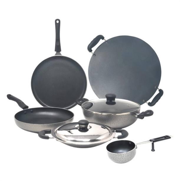 Kreme DELUXE 3mm NonStick Induction Bottom 240 kadai + 240 Fry Pan + 250 Tawa + Appachetty + Patri Tawa Round + Tadka Pan Set of 6 pcs Induction Bottom Cookware Set