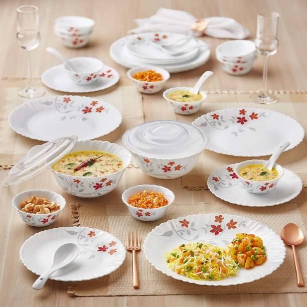Larah by Borosil Pack of 34 Opalware Dinner Set