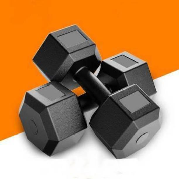 Rajputt Rajput Black PVC Premium Hex Dumbbell Set (Women & Men) Fixed Weight Dumbbell