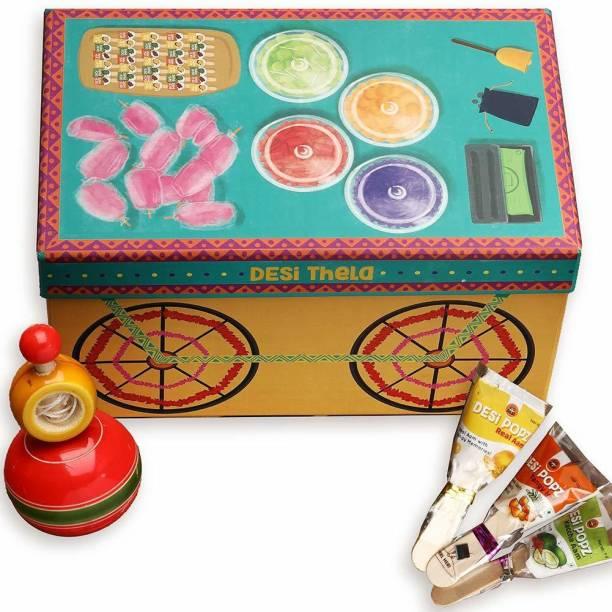 GO DESi Handmade Premium Thela Gadi Gift box - Contains DESi POPz, Wooden Lattu, 600 grams Paper Gift Box