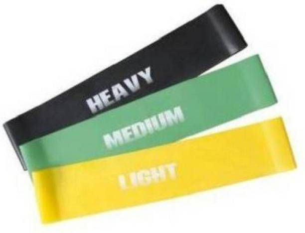 PIRENE 12-inch, Set of 3 Bands for Physical Therapy, Stretching, Home Fitness, Yoga Resistance Band