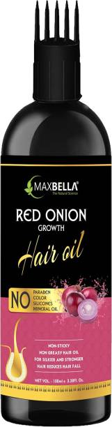 MaxBella Onion Black Seed Hair Oil - WITH COMB APPLICATOR - Controls Hair Fall - NO Mineral Oil, Silicones, Cooking Oil & Synthetic Fragrance Hair Oil