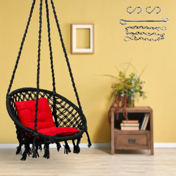 Swingzy Round Swing with L-Cushion & Chain Cotton Large Swing