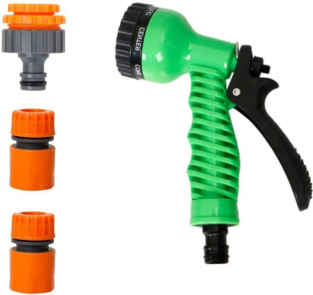 """HOKiPO 3 In 1 Threaded Tap Adapter 1/2"""" Quick Connector (2pc) and 7 Pattern Sprayer Nozzle Hose Pipe Fitting for Kitchen Gardening Car Washing Cleaning - Set of 4 (AR1597-1590-3719) Hose Connector"""