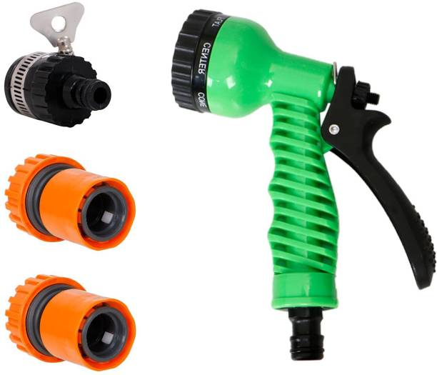"""HOKiPO 1/2"""" Tap Adapter 3/4"""" Quick Connector (2pc) and 7 Pattern Sprayer Nozzle Hose Pipe Fitting for Kitchen Gardening Car Washing Cleaning - Set of 4 (AR1597-3712-1691) Hose Connector"""