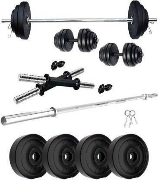 Brawl Nation 8Kg Home Gym Combo, Home Gym Set , 3Ft Straight Rod + One Pair Dumbbell Rods, PVC Dumbbell Plates Gym & Fitness Kit