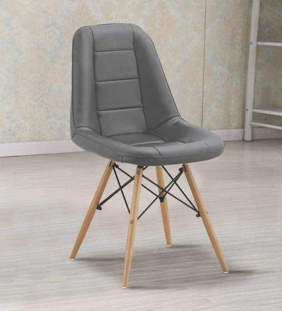 Finch Fox Amanta Faux Leather Eames Replica Cushioned Cafeteria Dining Chair in Dark Grey Color Leatherette Living Room Chair