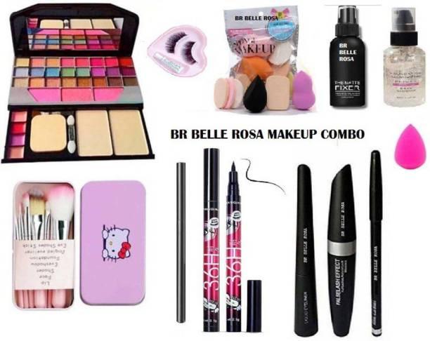 BR Belle Rosa 7pcs Makeup Brush set with storage box with TYA makeup kit,3D eyelash with glue,Primer, Fixer, high quality smudge proof Kajal, Waterproof 36H Sketch eyeliner black and 3 in 1 Combo set