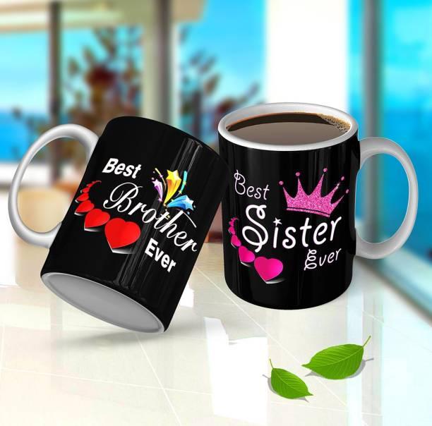 "Ridhi Sidhi Design ""Brother Sister"" Ceramic Coffee, Gift For Sister Brother, Rakhi , Raksha Bandha, Birthday Gift, Tea Cup ( 325 ml Each, Set Of 2 ) RSD00457 Ceramic Coffee Mug"