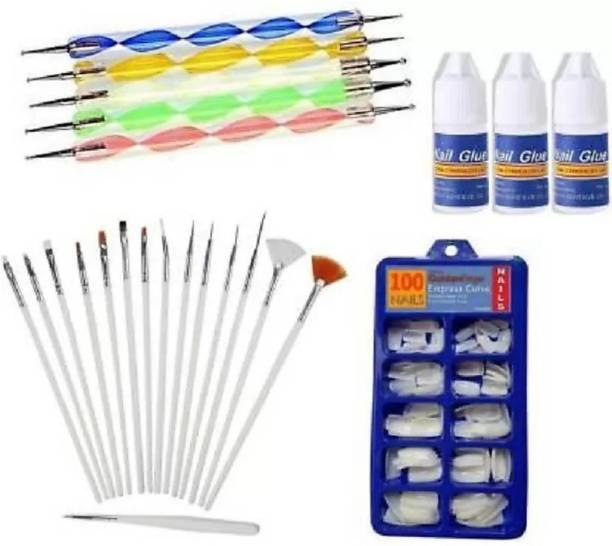 YADUL's 20pcs Nail Art Design Dotting Painting Drawing UV Polish Brush Pen Tools Set Kit (Multi) (MULTI COLOR) & 100 Pcs Reusable Acrylic False Nails With 3PCS Nail Glue For Women's & Girls White (Pack of 100) WITH DIFFERENT SHAPES AND STYLES WHITE (Pack of 100) (WHITE)