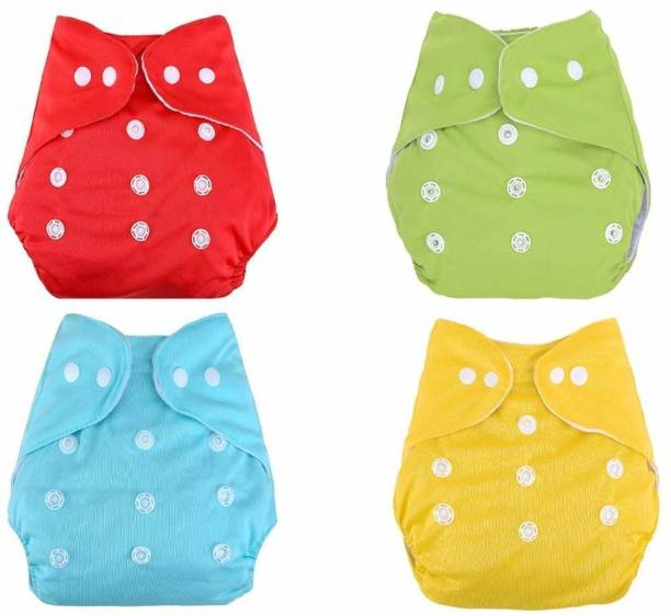 SLIKEE Reusable Baby Washable Cloth Cotton Diaper- Combo of 4 Pieces (Multi Colours) (No Insert Pads Included)