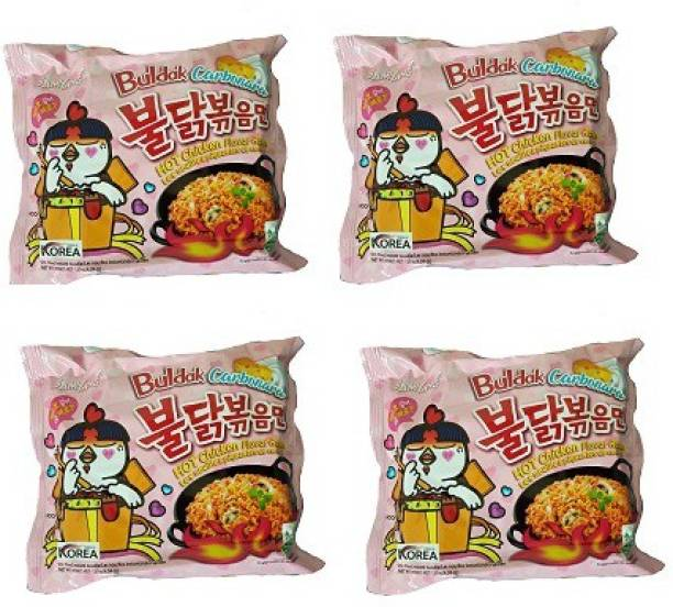 Samyang Hot Chicken Ramen Carbo Noodles-140 g (pack of 4) Instant Noodles Non-vegetarian