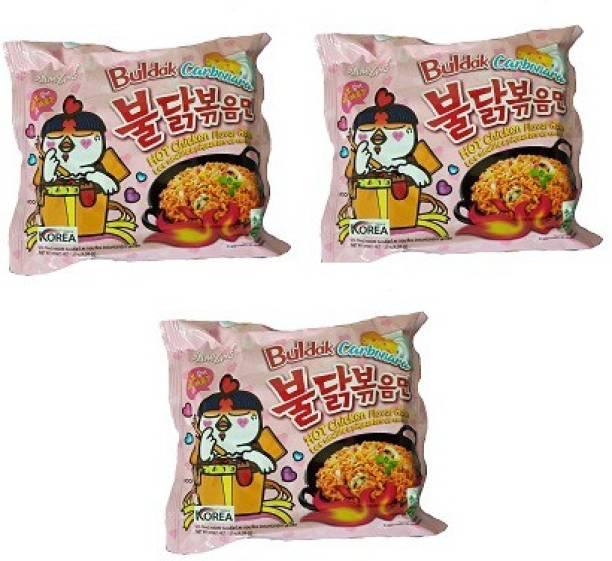 Samyang Hot Chicken Ramen Carbo Noodles-140 g (pack of 3) Instant Noodles Non-vegetarian