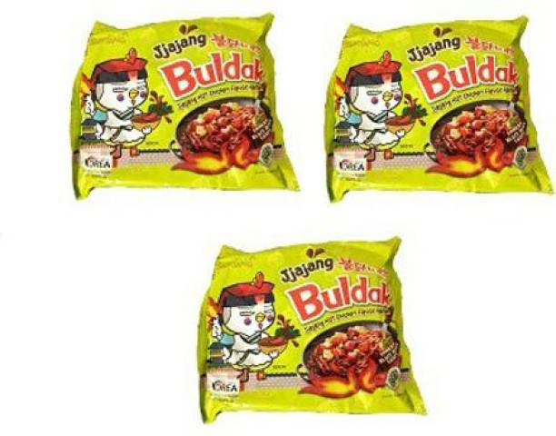 Samyang Hot Chicken Ramen Noodles Jjajang-140 gms (Pack of 3) Instant Noodles Non-vegetarian