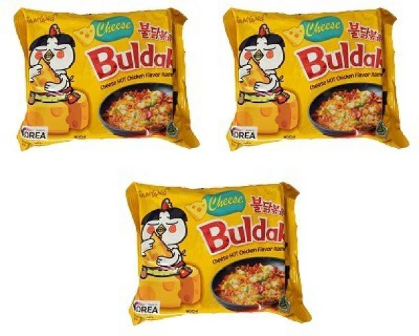 Samyang Hot Chicken Ramen Buldak Cheese Noodles, 140X3 (Pack of 3) Imported Instant Noodles Non-vegetarian