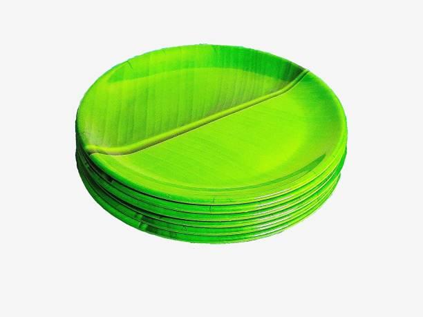 Raisaa Melamine Green Banana Leaf Full Plate, Pack of 6, 11 Inch Dinner Plate