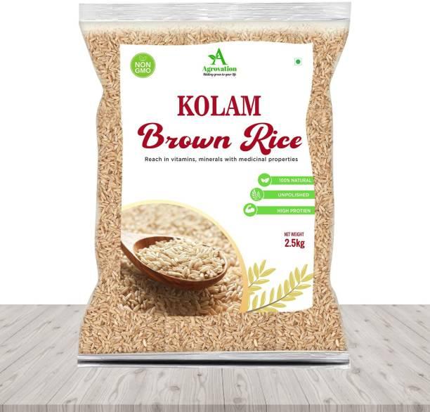 AGROVATION Premium Brown Rice, 10kg (2.5kg x 4 Packs)   100% Natural    & High Protein , Fitness Brown rice Brown Kolam Rice (Medium Grain, Unpolished)