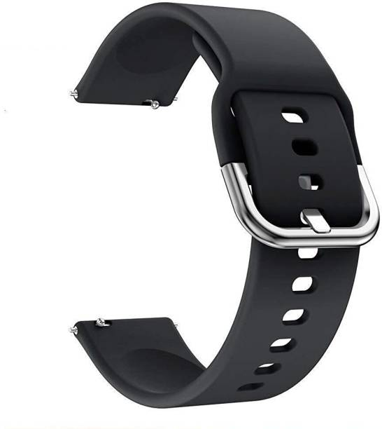 V-TAN Soft Silicone Band Strap With Metal Buckle Compatible with Boat Storm Smart Watch Strap (Black) Smart Watch Strap