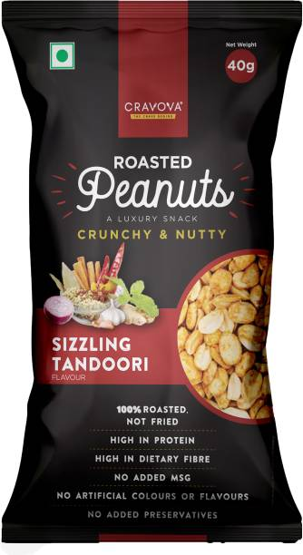 CRAVOVA - THE CRAVE BEGINS Crunchy Roasted Peanuts Sizzling Tandoori Flavour - Pack of 24 (40 grams each)