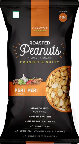 CRAVOVA - THE CRAVE BEGINS Crunchy Roasted Peanuts Peri Peri Flavour - Pack of 24 (40 grams each)