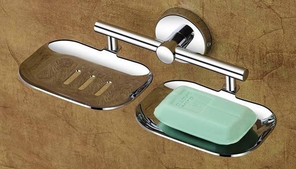 GRIVAN Soap Dish Holder, Stainless Steel Storage Saver Rack for Home Kitchen Bathroom Shower Self Adhesive Wall Mounted Soap Sponge Holder SILVER Towel Holder