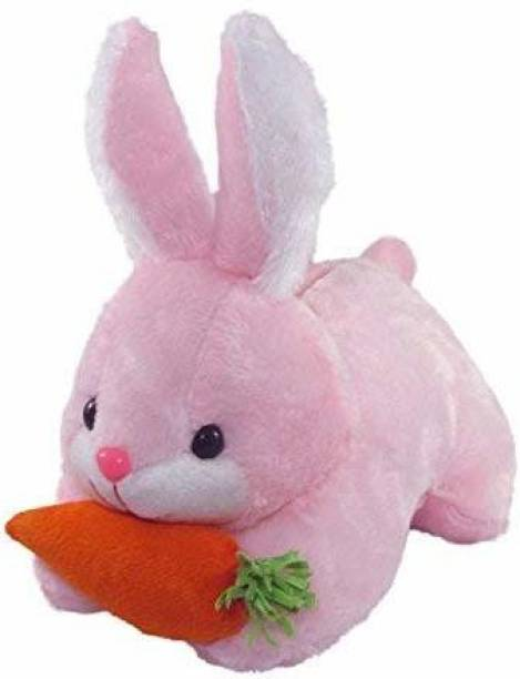 Crispy toys Pink Soft Stuffed Rabbit with Carrot Toy for Kids, Stuffed Plush Toys for Kids (28 cm) Pink Color  - 28 cm
